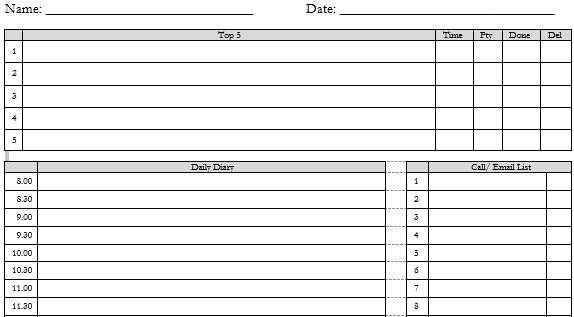 Free Template of Time Management Diary Sheet